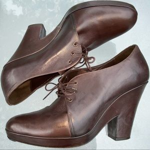 DKNY Brown Leather Platform Booties Italy 9 Heels